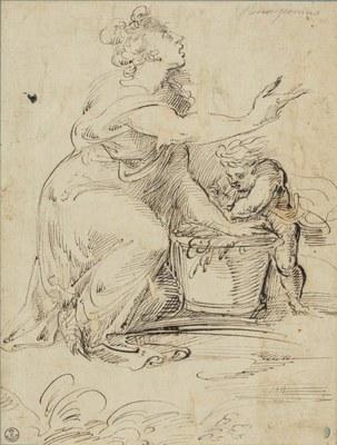 Amico Aspertini: Figura femminile con un putto. Firenze, Gallerie degli Uffizi, Gabinetto dei disegni e delle stampe