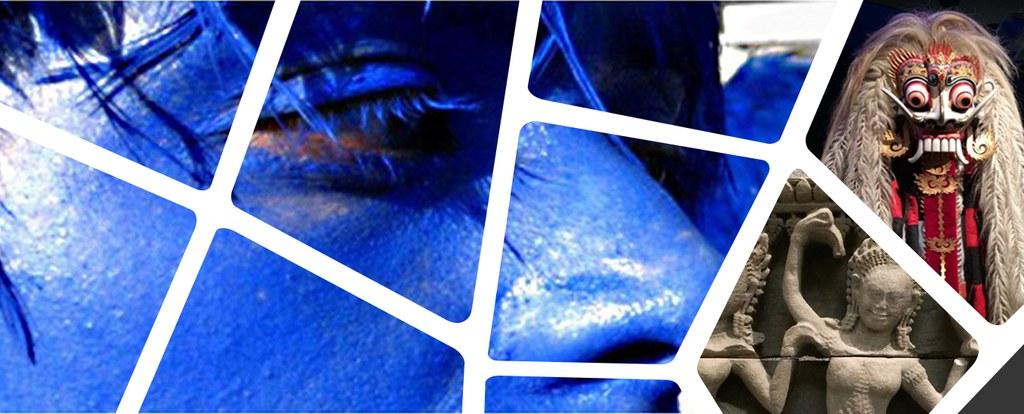 volti dipinti di blu ripresi durante un ballo