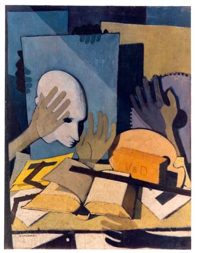 Felice Casorati; Novara, 1883 - Torino, 1963; Mani, oggetti, testa ... ; Olio su tela, cm 89, 5 x 69; inv. n.1094; Forlì, Palazzo Romagnoli; Collezione Verzocchi