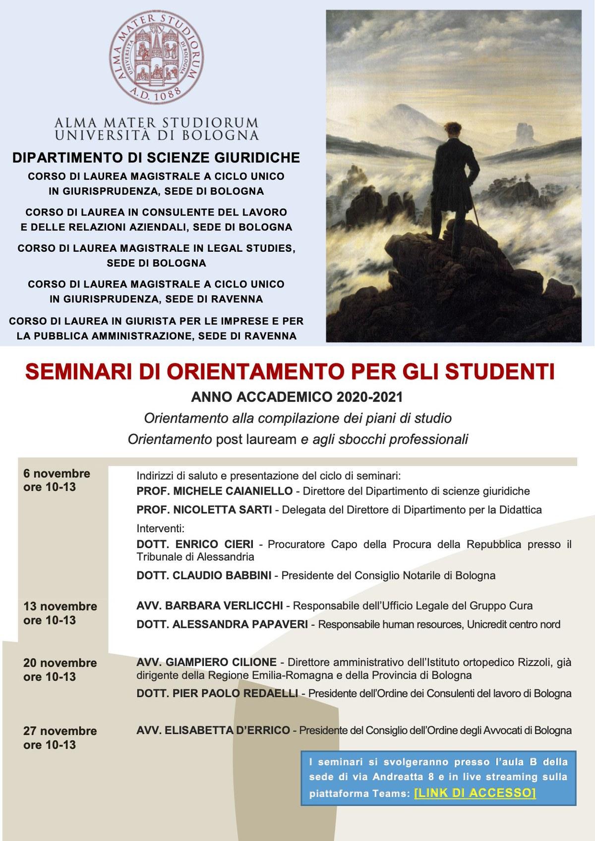 SEMINARI DI ORIENTAMENTO PER GLI STUDENTI A.A. 2020/21 ...